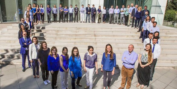 Novo Nordisk staff Chile forming a blue circle to mark World Diabetes Day 2016